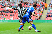 Grimsby Town striker Omar Bogle shoots for goal during the FA Trophy match between Grimsby Town FC and Halifax Town at Wembley Stadium, London, England on 22 May 2016. Photo by Mike Sheridan.