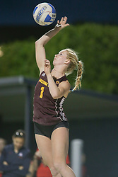 April 6, 2018 - Tucson, AZ, U.S. - TUCSON, AZ - APRIL 06: Arizona State Sun Devils Kate Baldwin (1) serves the ball during a college beach volleyball match between the Arizona State Sun Devils and the Arizona Wildcats on April 06, 2018, at Bear Down Beach in Tucson, AZ. Arizona defeated Arizona State 4-1. (Photo by Jacob Snow/Icon Sportswire (Credit Image: © Jacob Snow/Icon SMI via ZUMA Press)
