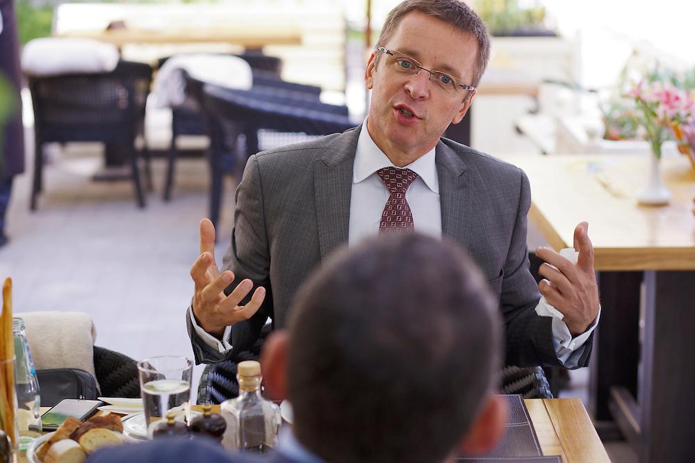 Ivan Mikloš meets with Kálman Mizsei at La Veranda restaurant on May 25, 2015 in Kyiv, Ukraine. Mr. Mikloš is Chief Advisor to the Minister of Finance of Ukraine and Advisor to the Minister of Economic Development and Trade of Ukraine.