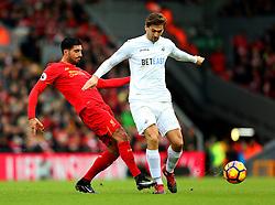 Emre Can of Liverpool tackles Fernando Llorente of Swansea City - Mandatory by-line: Matt McNulty/JMP - 21/01/2017 - FOOTBALL - Anfield - Liverpool, England - Liverpool v Swansea City - Premier League