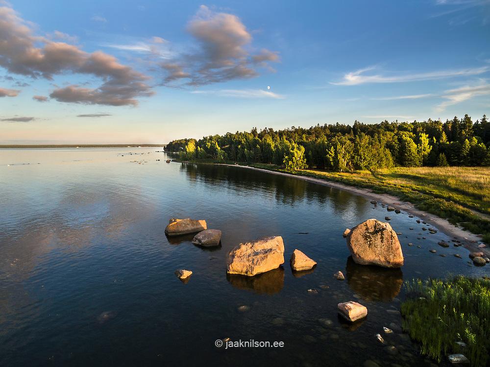 Käsmu coast in Lahemaa. Aerial, stony coastline. Baltic sea, Estonia. Clouds reflecting on water.