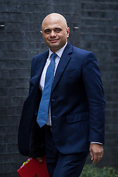 © Licensed to London News Pictures. 13/03/2018. London, UK. Secretary of State for Housing, Communities and Local Government Sajid Javid on Downing Street for the Cabinet meeting. Photo credit: Rob Pinney/LNP