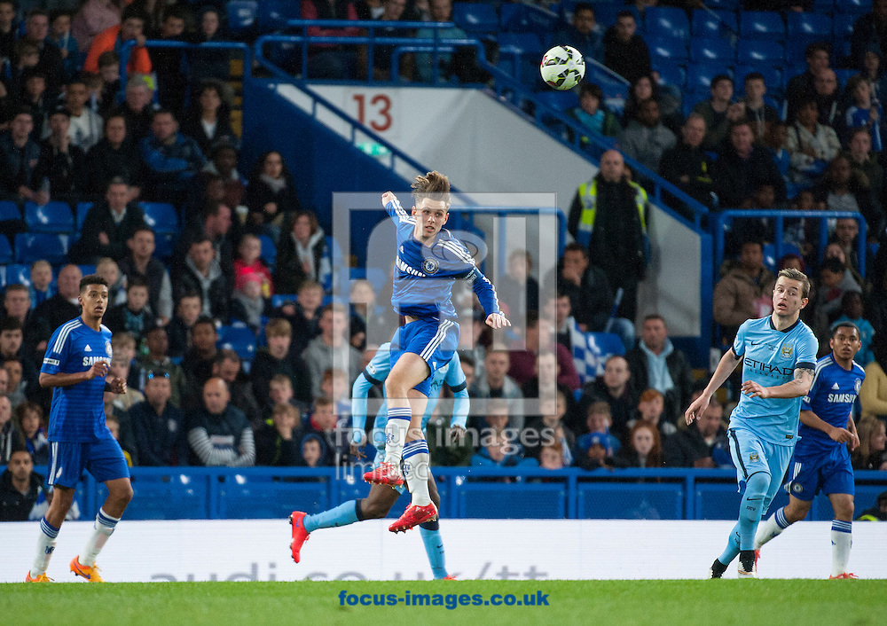 Charlie Colkett of Chelsea makes a defensive header during the second leg of the FA Youth Cup Final at Stamford Bridge, London<br /> Picture by Jack Megaw/Focus Images Ltd +44 7481 764811<br /> 27/04/2015