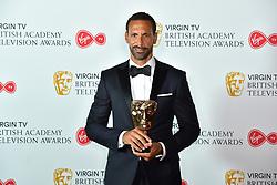 Rio Ferdinand holding his BAFTA Award at the Virgin TV British Academy Television Awards 2018 held at the Royal Festival Hall, Southbank Centre, London.
