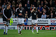 Brentford forward Lasse Vibe (21) and Brentford defender Yoann Barbet (29) celebrate post-match during the EFL Sky Bet Championship match between Burton Albion and Brentford at the Pirelli Stadium, Burton upon Trent, England on 18 March 2017. Photo by Richard Holmes.