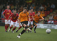 Photo: Rich Eaton.<br /> <br /> Crewe Alexandra v Hull City. Carling Cup. 15/08/2007. Hull's Michael Bridges fails to score from the spot in the first half but scores from the rebound