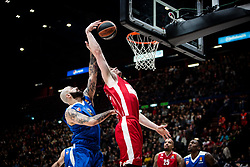 December 29, 2017 - Assago, Milan, Italy - Kaleb Tarczewski(#15 AX Armani Exchange Milan) shoots a layup  during a game of Turkish Airlines EuroLeague basketball between  AX Armani Exchange Milan vs Crvena Zvzda Mts Belgrade at Mediolanum Forum in Milan, Italy, on 29 december 2017. (Credit Image: © Roberto Finizio/NurPhoto via ZUMA Press)