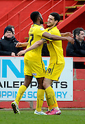 Zak Ansah celebrates scoring third goal during the Sky Bet League 2 match between Cheltenham Town and Plymouth Argyle at Whaddon Road, Cheltenham, England on 28 March 2015. Photo by Alan Franklin.