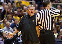 Feb 11, 2017; Morgantown, WV, USA; West Virginia Mountaineers head coach Bob Huggins argues a call during the first half against the Kansas State Wildcats at WVU Coliseum. Mandatory Credit: Ben Queen-USA TODAY Sports