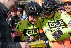 Anna Trevisi signing autographs at Drentse 8 2017. A 143 km road race on March 12th 2017, starting and finishing in Dwingeloo, Netherlands. (Photo by Sean Robinson/Velofocus)