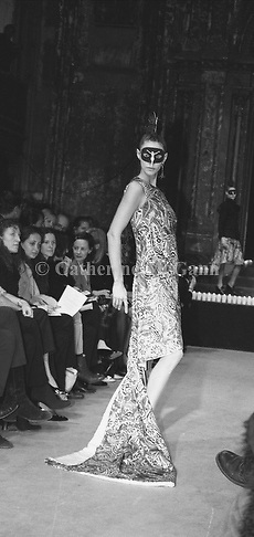 March 1996:  Alexander McQueen's first fashion show in New York.  The collection was shown in a former synagogue on Norfolk Street (now the Angel Orensanz Foundation Center for the Arts) on the Lower East side in New York City, New York..Copyright 2010 Catherine McGann