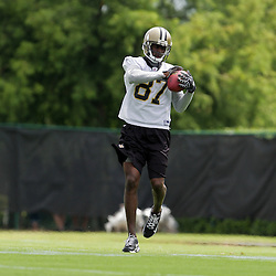 05 June 2009:  Saints receiver Adrian Arrington (87) participates in drills during the New Orleans Saints Minicamp held at the team's practice facility in Metairie, Louisiana.