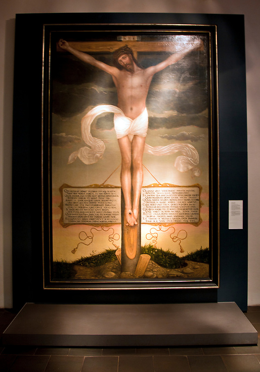 Wittenberg, Saxony:  A painting by Cranach the Younger (1500s) shows the crucified Christ in complete loneliness.  Preserved as an exhibit in Luther House, east end of town.<br /> <br /> From Reformation Tours LLC website:   &quot;It was in 1508 that Luther, as an Augustinian monk, first lived in this large home. It had been built Frederick the Wise and is a magnificent example of late medieval architecture. When the monastery was closed, Frederick the Wise gave the home to Luther and his family. <br /> <br /> &quot;The Luther House is now the largest museum for reformation history in the world. In the collection, there are about 15,000 books and pamphlets from the 16th - 18th centuries, about 13,000 individual sheets from the 16th - 20th centuries, 6,000 original manuscripts from the 11th - 19th centuries, about 1,600 coins and medallions, 135 paintings, 50 incunabula (early printed book) and one of a kind pieces.The museum also houses many portraits of the Reformer and his contemporaries by such great artists as Cranach.&quot;  (end of direct quote). <br /> <br /> Located on the northern bank of the Elbe River, Wittenberg dates from the 1100s and was chartered as a city in 1293.  Today it is a UNESCO World Heritage Site because of its importance via Martin Luther to the Protestant Reformation. <br /> <br /> Wittenberg was the site of the first Germany university in 1502 to which Luther arrived as an Augustine monk in 1508.  In 1517 he spoke out against the existing church conditions, making Wittenberg the center of the ensuing Reformation and the founding of the Lutheran religion.