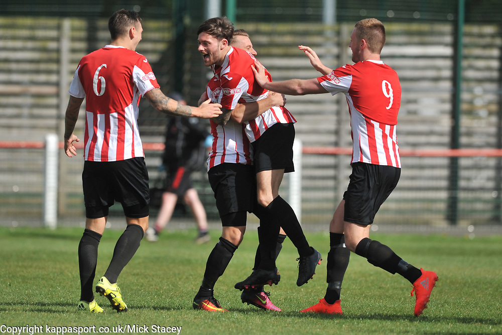 KEMPSTON ROVERS CELEBRATE THEIR SECOND GOAL BY SAM JOHNSON, Kempston Rovers v Fleet Town, Evostick Southern League Central Saturday 15th April 2017. Score 3-1. Photo:Mike Capps