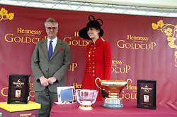 MAURICE HENNESSY and LADY GABRIELLA WINDSOR at the 2007 Hennessy Gold Cup held at Newbury racecourse, Berkshire on 1st December 2007.<br />