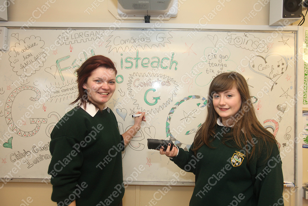 Caomihe Miller and Zara Hill pictured at Kilmihils St Michaels Community School on Monday.<br /> Pic. Brian Arthur/ Press 22.