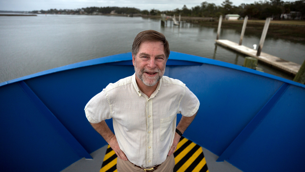 SAVANNAH, GA - FEBRUARY 20, 2018:  Clark Alexander, Director and Professor at the Skidaway Institute of Oceanography, stands on the bow of the Research Vessel Savannah while it is docked at the institute on Skidaway Island. (WABE Photo/Stephen B. Morton)