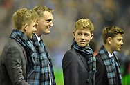 Scotland v New Zealand Saturday 18th November 2017 BT Murrayfield, Edinburgh.<br /> <br /> A clearly emotional Doddie Weir, flanked by his three sons leaves the pitch having delivered the match ball<br /> <br />  Neil Hanna Photography<br /> www.neilhannaphotography.co.uk<br /> 07702 246823