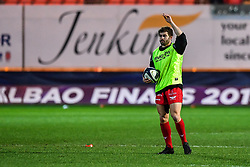 Scarlets' Leigh Halfpenny during the pre match warm up<br /> <br /> Photographer Craig Thomas/Replay Images<br /> <br /> European Rugby Champions Cup Round 5 - Scarlets v Toulon - Saturday 20th January 2018 - Parc Y Scarlets - Llanelli<br /> <br /> World Copyright © Replay Images . All rights reserved. info@replayimages.co.uk - http://replayimages.co.uk