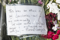 © Licensed to London News Pictures. 19/06/2017. London, UK. Card and flowers left at the scene . One man is known to be dead and several inured after a hired van was driven in to people on Whadcoat Street in Finsbury Park in North London after late night prayers at a nearby mosque . Photo credit: Joel Goodman/LNP