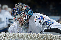 KELOWNA, CANADA - NOVEMBER 20:  Coleman Vollrath #35 of the Victoria Royals stands in net during warm up at the Kelowna Rockets on November 20, 2013 at Prospera Place in Kelowna, British Columbia, Canada.   (Photo by Marissa Baecker/Shoot the Breeze)  ***  Local Caption  ***