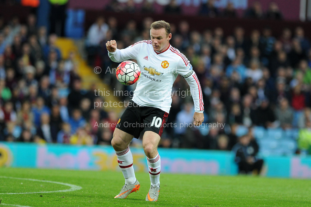 Wayne Rooney of Manchester Utd in action. Barclays Premier League match, Aston Villa v Manchester Utd at Villa Park in Birmingham, Midlands on Friday 14th August  2015.<br /> pic by Andrew Orchard, Andrew Orchard sports photography.