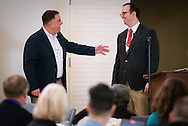 The Rev. Craig G. Muehler, director of the LCMS Ministry to the Armed Forces, thanks U.S. Army Capt. Blaine Hooper after he spoke to participants in the 2015 Operation Barnabas Conference on Monday, Feb. 9, 2015, at Mount Calvary Lutheran Church in San Antonio, Texas.  LCMS Communications/Erik M. Lunsford