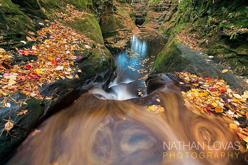 Waterfall cascade during autumn foliage.