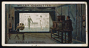 Thomas Alva Edison's kinetographic theatre: c1892. This combined the recording of sound and vision. From a cigarette card published 1915. Chromolithograph
