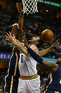 April 17, 2017 - Cleveland, OH, USA - Cleveland Cavaliers forward Kevin Love gets caught up in the Indiana Pacers defense while driving the ball during the third quarter in Game 2 of an Eastern Conference playoff game on Monday, April 17, 2017, at Quicken Loans Arena in Cleveland, Ohio. (Credit Image: © Leah Klafczynski/TNS via ZUMA Wire)