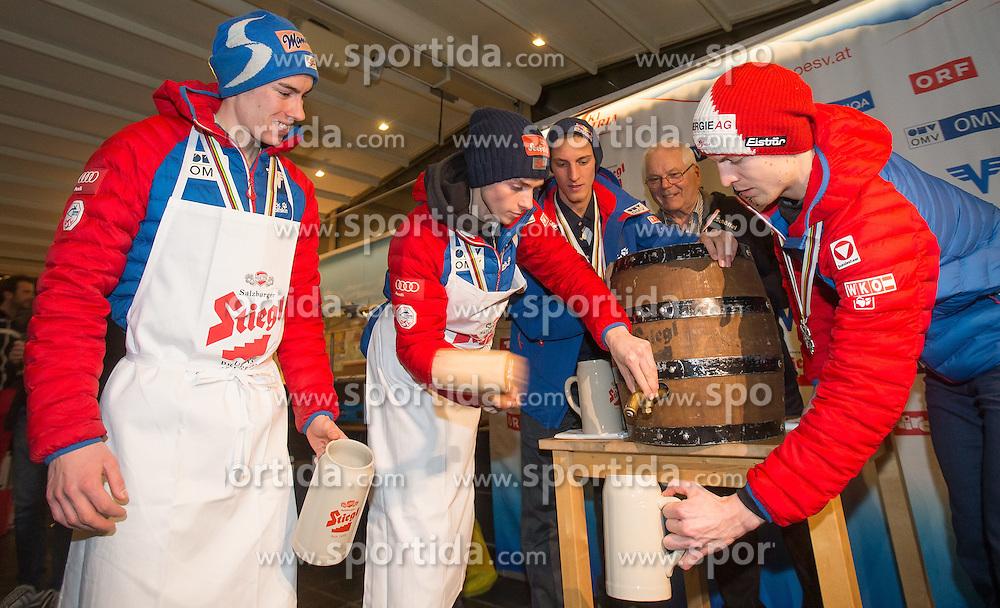 28.02.2015, Österreich Haus, Falun, SWE, FIS Weltmeisterschaften Ski Nordisch, Medaillenfeier, im Bild v. l.: Stefan Kraft (AUT), Manuel Poppinger (AUT), Gregor Schlierenzauer (AUT), Toni Leykam, Vize- Präsident ÖSV und Michael Hayboeck (AUT) // during the Medal Party of the FIS Nordic Ski World Championships 2015 at the Ski Austria House, Falun, Sweden on 2015/02/28. EXPA Pictures © 2015, PhotoCredit: EXPA/ JFK