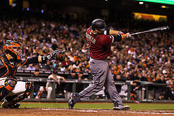 SAN FRANCISCO, CA - APRIL 20: Welington Castillo #7 of the Arizona Diamondbacks hits a two run home run against the San Francisco Giants during the seventh inning at AT&T Park on April 20, 2016 in San Francisco, California.  (Photo by Jason O. Watson/Getty Images) *** Local Caption *** Welington Castillo