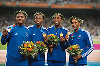 Great Britain Gold Medalists celebrate at the Medal Presentation. Jason Gardener,Marlon Devonish,Darren Campell and Mark Lewis Francis.Mens 4 X 100 Relay Final.28/8/2004.Athens Olympics 2004. Credit : Colorsport/Andrew Cowie.