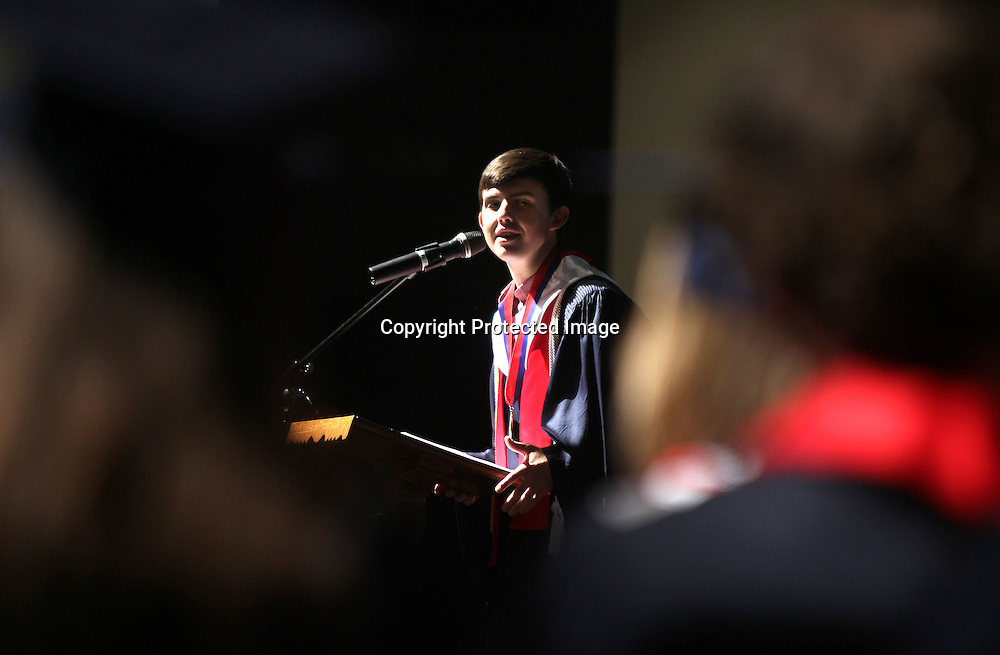 Adam Robison | BUT AT PHOTOS.DJOURNAL.COM<br /> Valedictorian Ryan Warnick speaks to his classmates during his speach a the TCPS graduation ceremony Saturday at the Orchard in Tupelo.