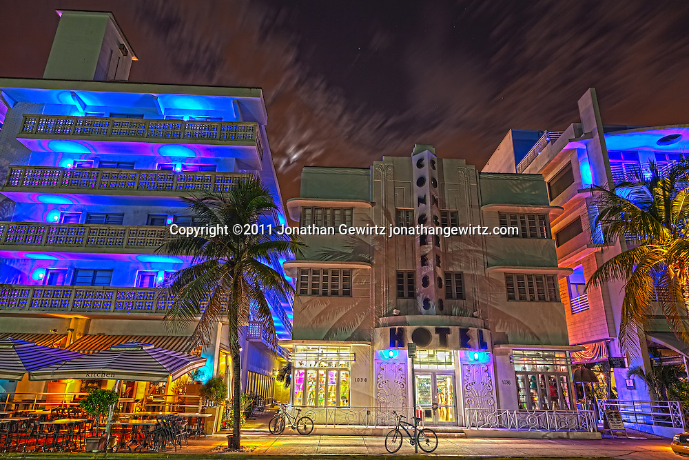 The Congress Hotel on South Miami Beach's Ocean Drive at night. WATERMARKS WILL NOT APPEAR ON PRINTS OR LICENSED IMAGES.