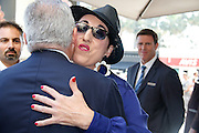CANNES FILM FESTIVAL JURY ARRIVAL DINNER<br /> <br /> Rossy de Palma ( Actress Spain) is accuillie Claudio Ceccherelli , general manager of the Grand Hyatt Hotel Martinez Cannes - Members of the Jury of the 68th Cannes Film Festival at the Hotel Martinez arrive for their first meal together, Hotel Martinez, Cannes, the Tuesday 12.MAI.2015<br /> ©Exclusivepix Media