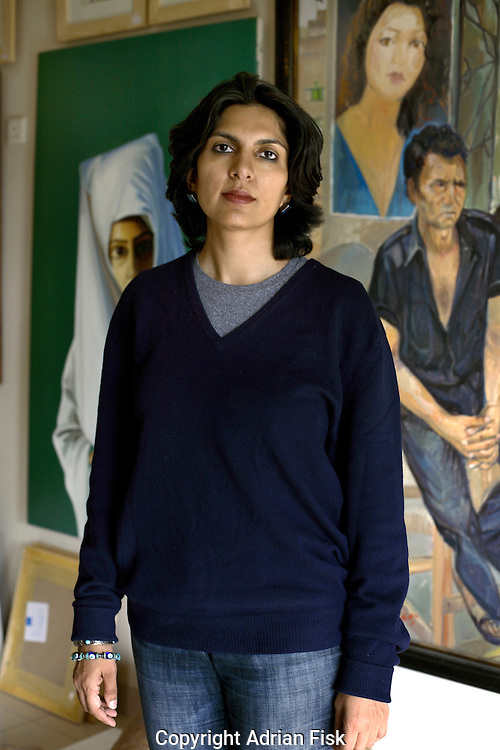 Sameera Raja owner of the Canvas gallery photographed in her gallery in karachi.