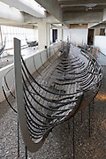 Skuldelev original viking ship longboat exhibit at Roskilde Viking Ship Museum in Zealand, Denmark