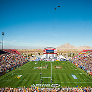 Two F-15R fighter jets from Nellis Air Force Base perform a flypast over the USA Sevens leg of the 2015 HSBC Sevens World Series  at Sam Boyd Stadium in Las Vegas, Nevada. Friday February 13, 2015.<br /> <br /> COPYRIGHT &copy; JACK MEGAW, 2015. <br /> <br /> www.jackmegaw.com