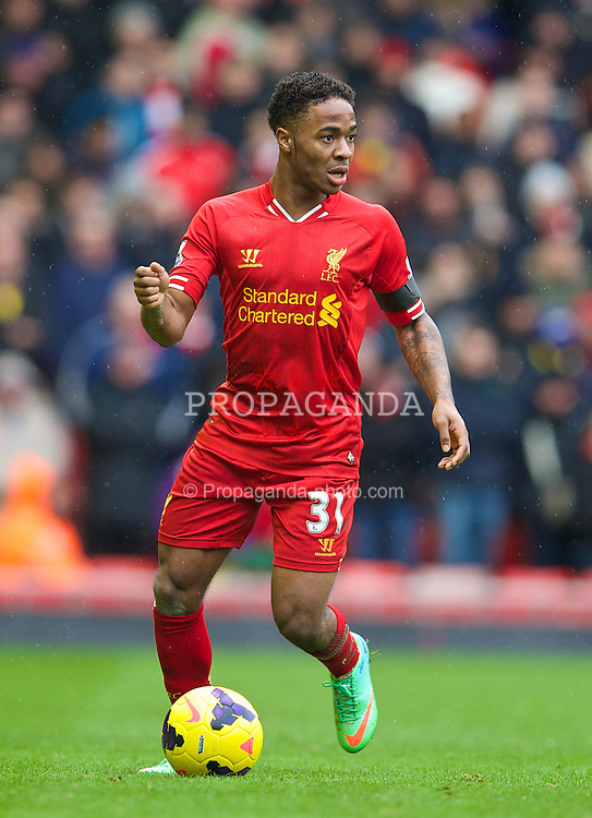 LIVERPOOL, ENGLAND - Saturday, February 8, 2014: Liverpool's Raheem Sterling in action against Arsenal during the Premiership match at Anfield. (Pic by David Rawcliffe/Propaganda)