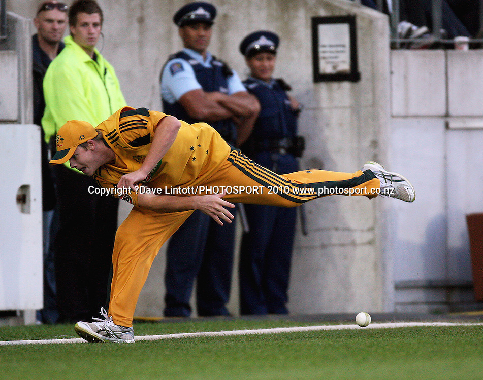 Australia's Steven Smith keeps the ball from reaching the boundary.<br /> 1st Twenty20 cricket match - New Zealand v Australia at Westpac Stadium, Wellington. Friday, 26 February 2010. Photo: Dave Lintott/PHOTOSPORT