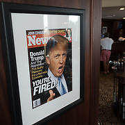 DORAL, FLORIDA, JANUARY 10, 2018<br /> Framed photo of a Newsweek Magazine cover  featuring Donald J. Trump inside the Trump National Doral Miami Golf Shop at the Trump National Doral Miami. <br /> (Photo by Angel Valentin/Freelance)