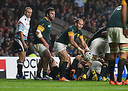 South Africa scrum half Fourie du Preez (captain) during the Rugby World Cup Semi-Final match between South Africa and New Zealand at Twickenham, Richmond, United Kingdom on 24 October 2015. Photo by David Charbit.