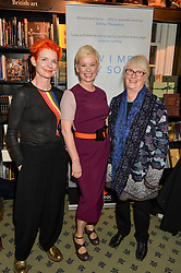 Left to right, SANDY POWELL, ROS POWELL and their mother at a party to celebrate the publication of How I Met My Son by Ros Powell held at Hatchards, 187 Piccadilly, London on 11th February 2016.