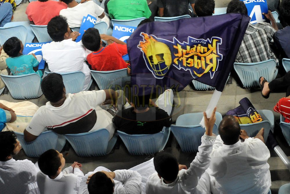 KKR fans during Match 4 of the NOKIA CLT20 between The Warriors and the South Australian Redbacks held at the Rajiv Gandhi International Stadium, Hyderabad on the 25th September 2011..Photo by Pal Pillai/BCCI/SPORTZPICS