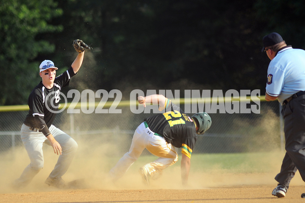 Bensalem's Mike Shauder (left) shows the umpire he has control of the baseball after tagging out Newtown's Seth Leuz #21 in the second inning Monday June 20, 2016 at Valley Athletic Association in Bensalem, Pennsylvania. Newtown defeated Bensalem 6-5. (Photo by William Thomas Cain)