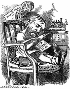 Evelyn Ashley (1836-1907) English author and Liberal politician; son of 7th Earl of Shaftesbury. Cartoon by Edward Linley Sambourne  in the Fancy Portraits series from 'Punch' London April 1881 when Ashley was under-secretary at the Board of Trade .