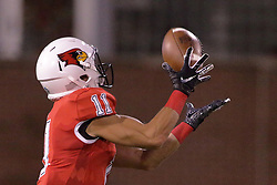 NORMAL, IL - September 08: Spencer Schnell pulls in a pass from Brady Davis and heads up field for what turns into a 97 yard touchdown run during 107th Mid-America Classic college football game between the ISU (Illinois State University) Redbirds and the Eastern Illinois Panthers on September 08 2018 at Hancock Stadium in Normal, IL. (Photo by Alan Look)