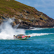 Hogs Breath lines up for a turn marker, Outboard Engine Class, Offshore Superboat Championships, Coffs Harbour, New South Wales, Australia