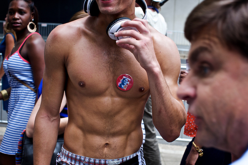 A democratic supporter wears a button to show his support in Charlotte, NC during the 2012 Democratic National Convention on Sept. 5, 2012.